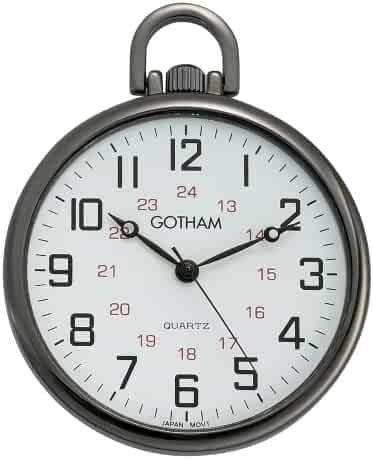 Gotham Men's Gun Metal Ultra Thin Railroad Open Face Quartz Pocket Watch # GWC15026B