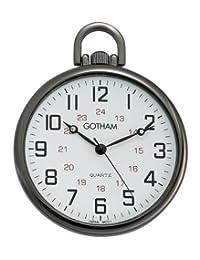 Gotham Men's Gun Metal Ultra Thin Railroad Open Face Quartz Pocket Watch # GWC15026B