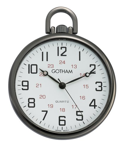 Gotham Men's Gun Metal Ultra Thin Railroad Open Face Quartz Pocket Watch # GWC15026B -