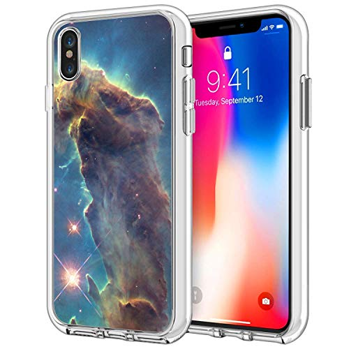 Owa UV Printing Case for iPhone Xs Max, Shock-Absorption Bumper Cover, Anti-Scratch Clear Back, HD Clear - Outer Space
