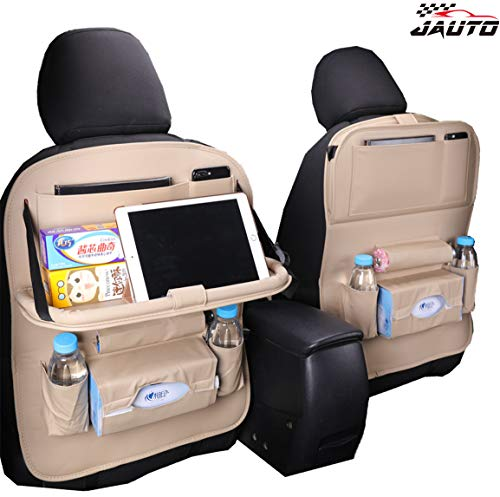 (JAUTO Car Back Seat Organizer with Foldable Table Tray, PU Leather Car Back Seat Organizer for Kids Toy Bottles Storage with Foldable Dining Table Ipad Tablet Holder(Beige with Table Tray 2PC))