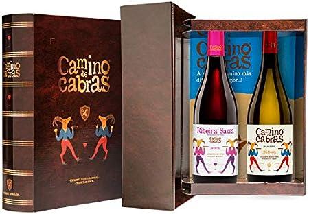 CAMINO DE CABRAS Estuche de vino – Albariño D.O. Rías Baixas Vino blanco + Mencía D.O. Ribeira Sacra Vino tinto –Producto Gourmet - Vino para regalar - 2 botellas x 750 ml.