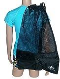 Mesh Draw String with Shoulder Strap Bag for Scuba, Snorkel, Boat, Swim (Black - Black Mesh)