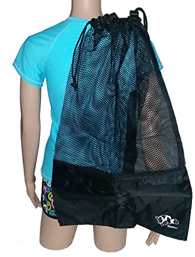 Mesh Draw String with Shoulder Strap Bag for Scuba, Snorkel, Boat, Swim (Black - Black Mesh)