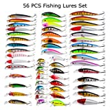 56pcs Fishing Lures Kit Mixed Including Minnow CrankBait with Hooks for Saltwater Freshwater Trout Bass Salmon Fishing