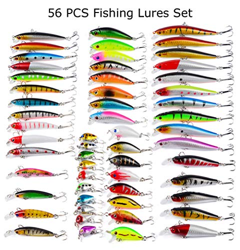 Juemenzhe 56pcs Fishing Lures Kit Mixed Including Minnow CrankBait Hooks Saltwater Freshwater Trout Bass Salmon Fishing ()