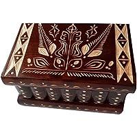Caja puzzle nuevo grande marrón caja de joyas talladas caja mágica misterio caja de madera rompecabezas caja secreta…