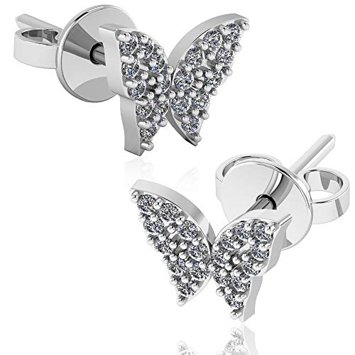 Butterfly Earring Set Stud (.925 Sterling Silver & Pavé-Set Cubic Zirconia Petite Stud Earrings - Spring Butterfly)