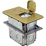 Orbit Industries FLB-D-BR Floor Flip-Type with Duplex Receptacle Cover & Adjustable Box, Tamper Resistant, Brass