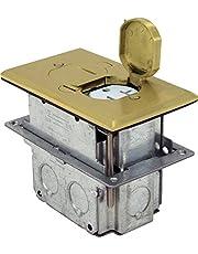 Orbit Industries FLB-D-BR Floor Flip-Type with Duplex Receptacle Cover & Adjustable Box, Tamper Resistant, Brass