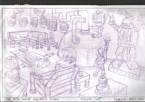 Background Signed - Nick Cuti-Background Animation Art-Fat Dog Mendoza-1990's-robot scene-signed-FN