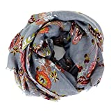 Scarves for Women: Lightweight Elegant Floral Fashion shawl by MIMOSITO (Gray Floral)