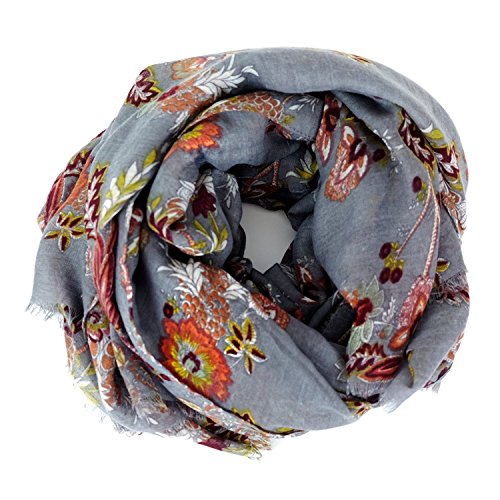 Scarves for Women: Lightweight Elegant Floral Fashion shawl by MIMOSITO (Gray Floral) by MIMOSITO®