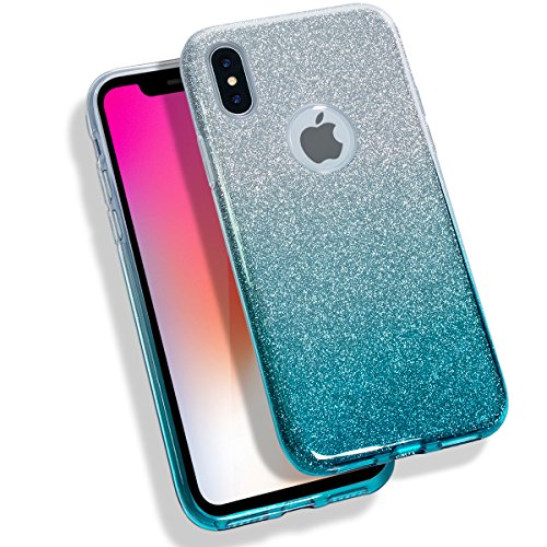 MATEPROX iPhone X Case Shining Glitter Crystal Bling Protective Cute Case Compatible with iPhone X (2017) -Gradient Green