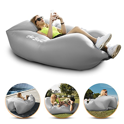 Frame Topper - Abco Tech Inflatable Air Sofa Chair - Portable Lounger Couch & Air Hammock, Pool Float Lounge Chair - Ideal for Traveling, Camping or At Beaches – Waterproof & Lightweight – Includes Carry Bag (Gray)