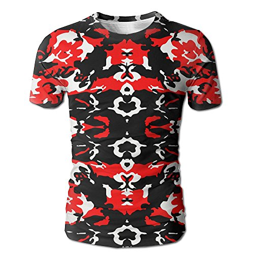 Lcnkwxbe Red Black Camo Printing Men's Short Sleeve Crewneck Graphic T-Shirts Tee Tops L