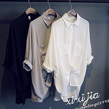 XXIN Camisas/Blusas Tejidas Nieve Código Grande Suelto 7 Mini/Estudiantes Un Color Sólido