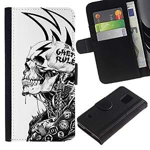 All Phone Most Case / Oferta Especial Cáscara Funda de cuero Monedero Cubierta de proteccion Caso / Wallet Case for Samsung Galaxy S5 V SM-G900 // Grunge Mech Skeleton