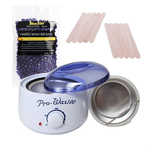 Depilatory Wax Kit, Electric Wax Heater Warmer Hard+10pcs Waxing Spatulas+100g Wax Hot Film Hard Beans Body Bikini Hair Removal (No Strip) (Lavender)