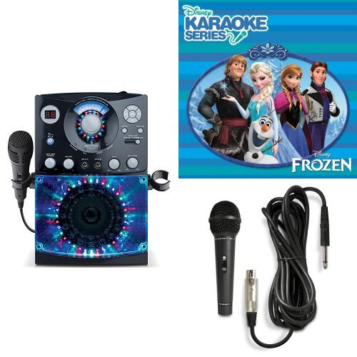 The Singing Machine SML-385W Disco Light Karaoke System (Black) with Disney's Frozen Karaoke CD, and Extra Microphone