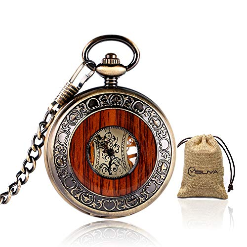 Antique Watch Pocket Case - Vintage Mechanical Pocket Watch Bronze Wooden Roman Numerals Creative Carving Flower Dial Luxury Pendant