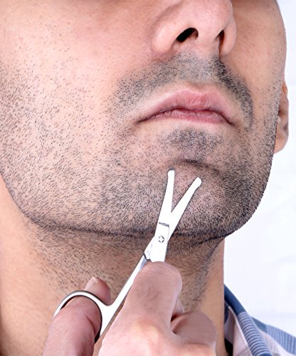 Curved and Rounded Facial Hair Scissors for Men  Mustache Nose Hair  Beard Trimming Scissors Safety