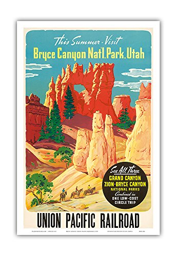 (This Summer Visit Bryce Canyon Nat'l. Park Utah - See All Three: Grand Canyon, Zion, Bryce National Parks - Union Pacific Railroad - Vintage World Travel Poster c.1935 - Master Art Print - 12in x 18in)