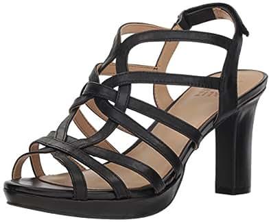 Naturalizer Women's Flora Heeled Sandal, Black Leather, 8 M US