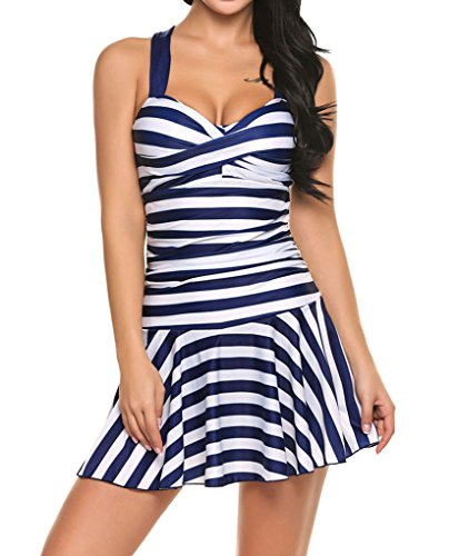 cd6d1b6698d Locryz Women's Striped Crossover Ruched One Piece Swim Dress Padded Swimwear  Swimsuit Plus Size (XXL, Navy Blue)