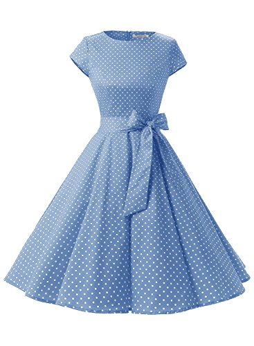 Dressystar DS1956 Women Vintage 1950s Retro Rockabilly Prom Dresses Cap-Sleeve XS Sky Blue Blue Sky Cotton Cap
