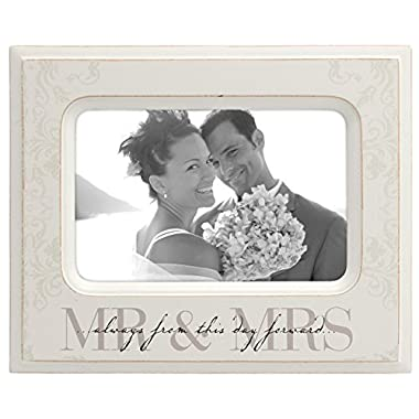 Malden International Designs Wedding  Mr. and Mrs.  Wooden Picture Frame, 4x6, Cream