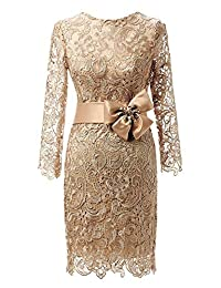 DINGZAN Vintage Lace Mother of the Bride Dresses Knee Length with Long Sleeves