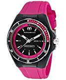 Technomarine Tm-110013 Women's Cruise Pink Silicone Black Dial Black Silicone Watch