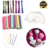 600 Pcs Lollipop Set Including 200 pack Lollipop treat Sticks(5 Different Colors),200 Pieces of Lollipop Parcel Bags and 200 Pieces of Wire Lines(8 Different Colors)