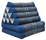 Thai triangular cushion with mattress 2 folds, blue/grey, relaxation, beach, pool, meditation garden (81702)