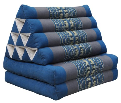 Thai triangular cushion with mattress 2 folds, blue/grey, relaxation, beach, pool, meditation garden (81702) by Wilai GmbH