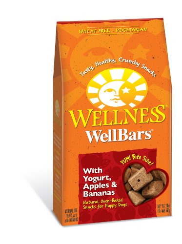 Wellness Wheat Free Oven Baked Biscuits for Dogs, WellBars Yogurt, Apples and Banana, 20-Ounce Box, My Pet Supplies