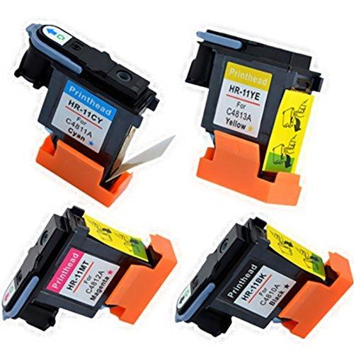 YATUNINK Full Color Set 11 Printhead C4810A C4811A C4812A C4813A(Black Cyan Magenta Yellow) Fit Business Inkjet 2200se Color Inkjet cp1700 Designjet 500 Officejet 9110 -