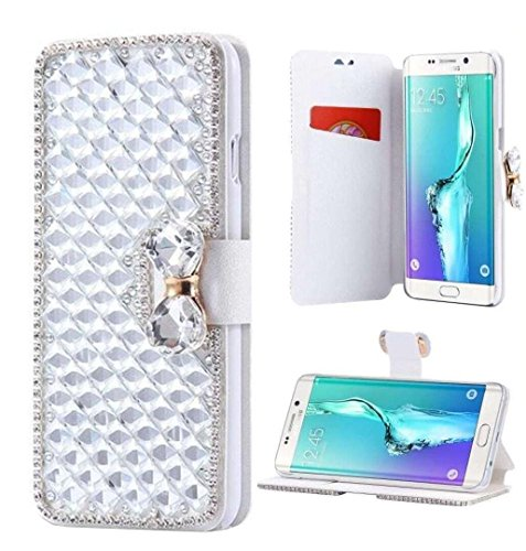 Galaxy Note 8 Wallet Case,Inspirationc and Made Luxury 3D Bling Crystal Rhinestone Leather Purse Flip Card Pouch Stand Cover Case for Samsung Galaxy Note 8--Silver