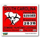 South Carolina SC Zombie Hunting License Permit Red - Biohazard Response Team - Window Bumper Locker Sticker