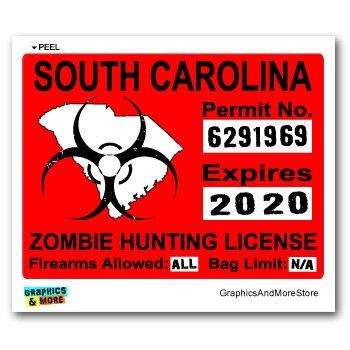 Graphics and More South Carolina SC Zombie Hunting License Permit Red - Biohazard Response Team - Window Bumper Locker Sticker