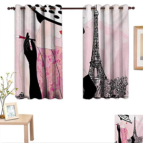 (Teen Room Blackout Draperies for Bedroom Sexy Woman with Hat Smoking in Front of Eiffel Tower in Shabby Pink Design 55