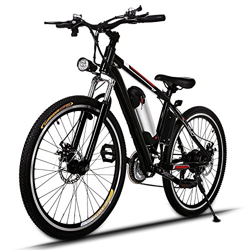 26'' Power Plus Electric Mountain Bike with Large Capacity Removable Lithium-Ion Battery (36V 250W), Battery Charger,High Speed Motor & 21-speed Shimano Gear by Binxin