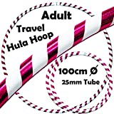PRO Hula Hoops (Ultra-Grip/Glitter Deco) Weighted TRAVEL Hula Hoop (100cm/39') Hula Hoops For Exercise, Dance & Fitness! (640g) NO Instructions Needed - Same Day Dispatch! (White / Purple Glitter)