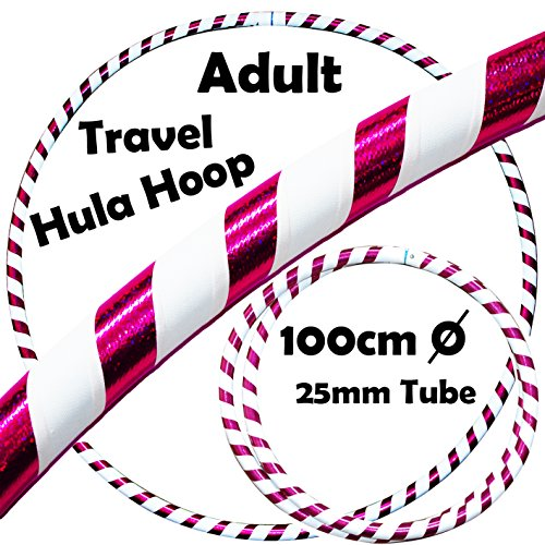 PRO Hula Hoops (Ultra-Grip/Glitter Deco) Weighted TRAVEL Hula Hoop (100cm/39') Hula Hoops For Exercise, Dance & Fitness! (640g) NO Instructions Needed - Same Day Dispatch.! (White / Purple Glitter)