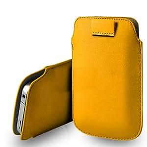 Nokia Lumia 302 Cuero Amarillo Tire Tab caso de la cubierta Pouch + paño de pulido