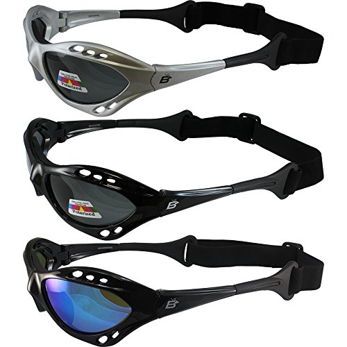 (Three Pair Birdz Seahawk Polarized Sunglasses Floating Jet Ski Goggles Sport Kite-Boarding, Surfing, Kayaking, Two Smoke, One Blue Mirror Lens)