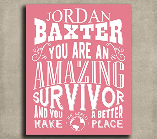 You Are An Amazing Survivor Custom Plaque Tin Sign Gift for Women Breast Cancer Awareness Fighter Award Personalized Metal Art Print (Breast Cancer Awareness Tins)