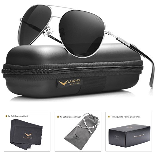 mens-sunglasses-aviator-polarized-black-by-luenx-lightweight-metal-framelarge-60mm-lenswith-casefor-