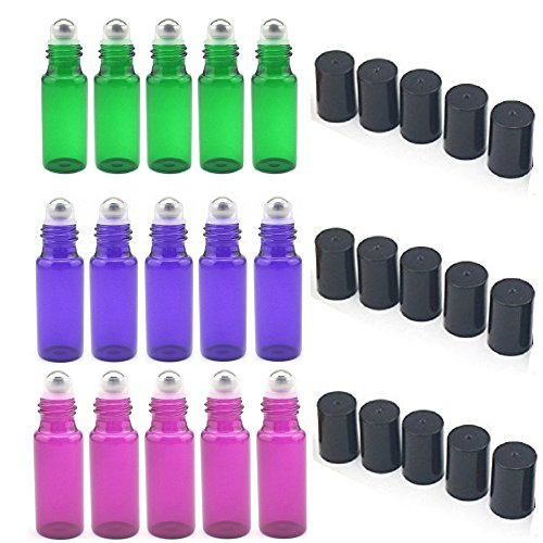 SUNREEK 5ml Glass Refillable Bottles with Stainless Steel Roller Balls, Set of 15 for Aromatherapy, Essential Oils, Perfumes, Lip Balms (5Pcs Green, 5Pcs Purple, 5Pcs Violet Colored) ()